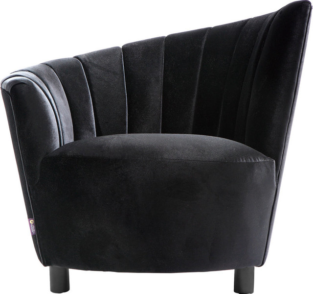 Glamour black velvet accent chair contemporary living for 4 living room chairs