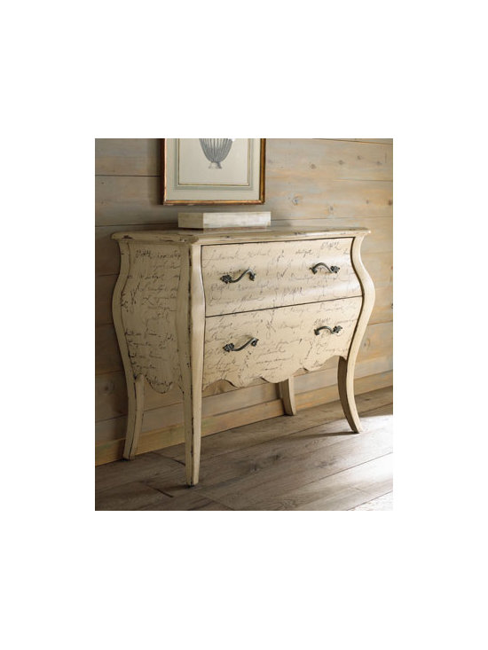 """Calligraphy"" Chest - This charming French-styled chest gets its name, ""Calligraphy"" chest, from the hand-painted script you'll find surrounding it.  A unique and beautiful piece for any room.40.75""W X 18""D X 34""T."