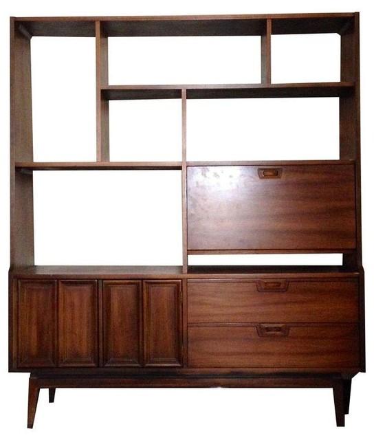 pre owned mid century modern wooden shelving room divider. Black Bedroom Furniture Sets. Home Design Ideas