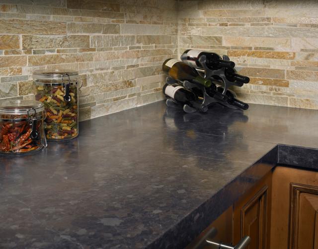 Marron Cohiba Granite w/ Golden Gate Stackstone Backsplash kitchen-countertops