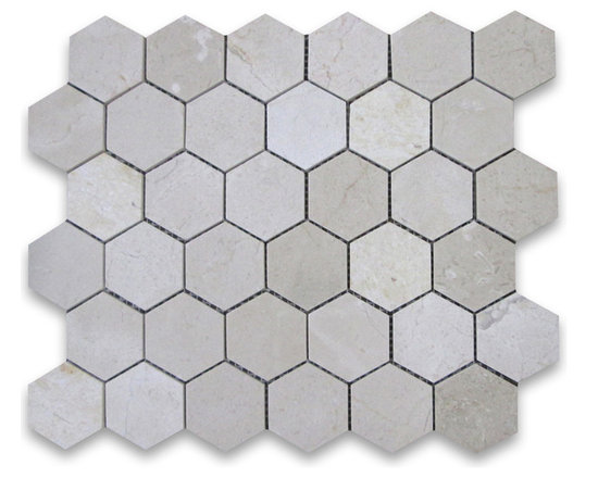 "Stone Center Corp - Spanish Crema Marfil Marble Hexagon Mosaic Tile 2 inch Polished - Crema Marfil Marble 2"" (from point to point) hexagon pieces mounted on a sturdy mesh tile sheet"