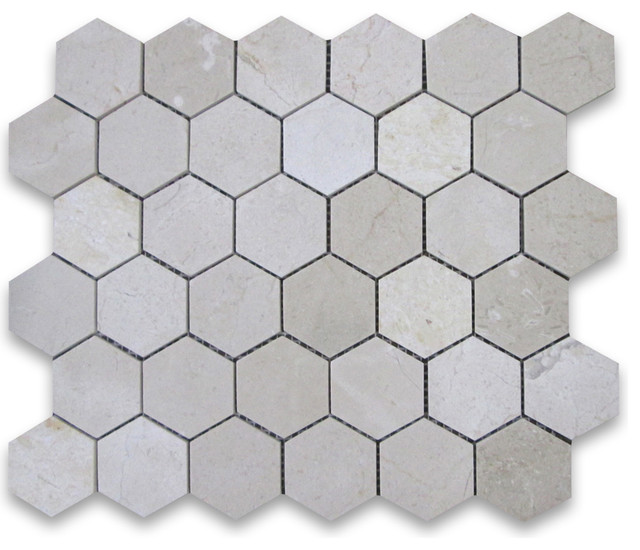 Spanish crema marfil marble hexagon mosaic tile 2 inch polished contemporary wall and floor for 1 inch hexagon floor tiles
