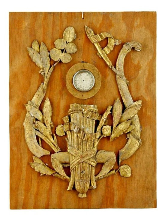 Giltwood Barometer Fragments - Antique carved gilt wood barometer fragments, with quills, lyre and foliage attached to a wood board.