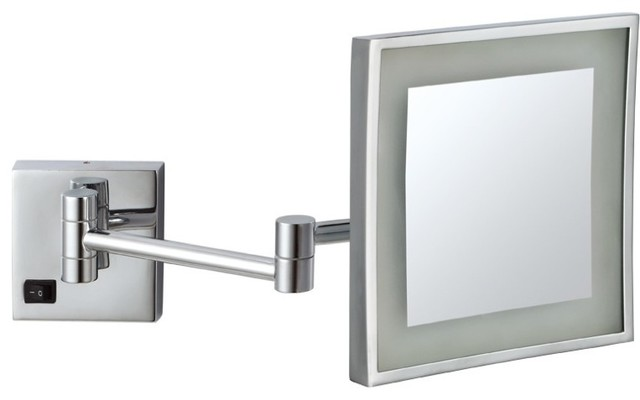 Modern Led Lighted Wall Mounted Vanity Mirror Round Shape: Square Wall Mounted LED 3x Makeup Mirror