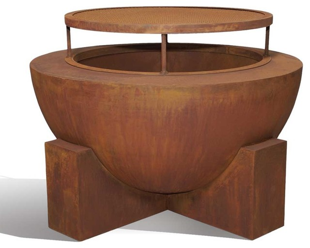 Ore Round Wood Burning Fire Pit Contemporary Fire Pits