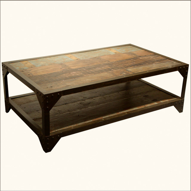 Industrial Wrought Iron Old Wood 2 Tier Coffee Table Traditional Coffee Tables Austin