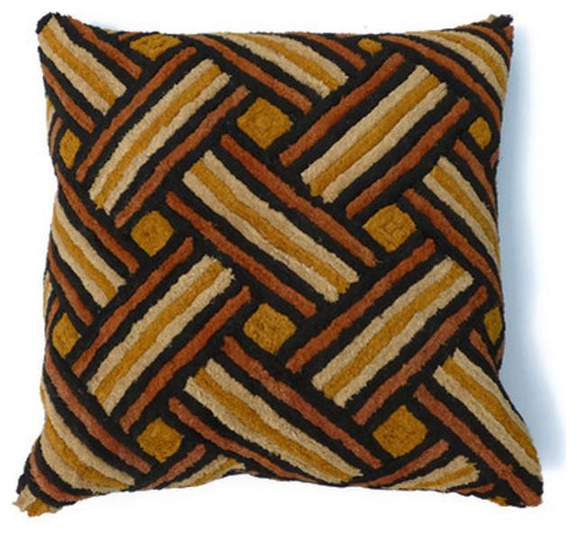 African Pillows Kuba Cloth eclectic-pillows