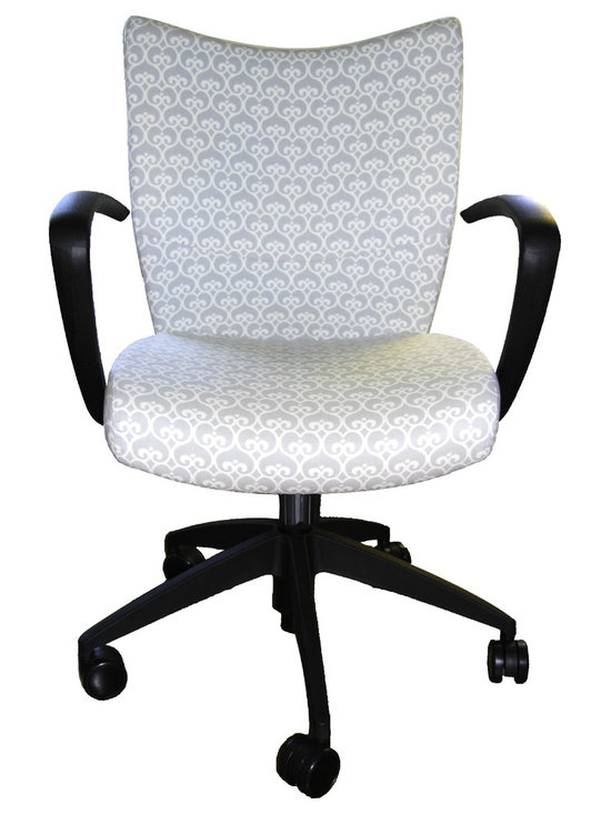 9 to 5 Seating - Upholstered Desk Chair - This curvy, comfy office chair will help you deliver on the job in style. With plush upholstery and a chic pattern, plus curved arms and swivel/tilt motion, you'll be impressively productive.