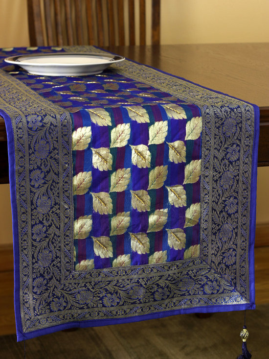 Elegant Table Runners - Decorative Satin Table Runner in Navy Blue color. Indian hand crafted design with delicate silk. Available in 7 bold colors. Gold