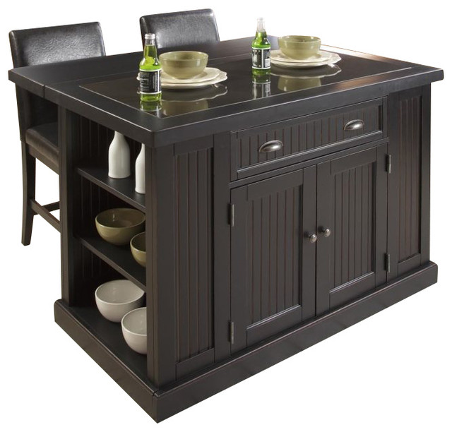 Home Styles Nantucket Island And Two Stools In Distressed Black Finish Transitional Kitchen