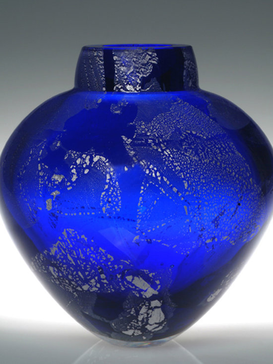 """Solinglass - Cobalt Blue Emperor Bowl  6.5"""" x 7"""" - Cobalt with Silver Leaf, 7 x 6.5 x 6.5 in"""