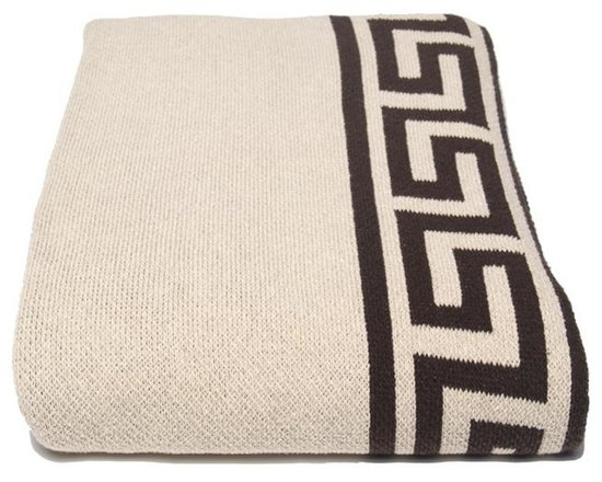 Eco Greek Key Linen Throw-Linen - There's something so chic and classic about a Greek key motif. We love how it's incorporated into this soft and beautifully crafted throw blanket. Use it on a chaise or artfully draped at the end of a well-dressed bed to add instant glam to your room.
