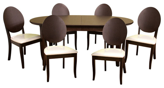 Contemporary Style Oval Wooden and Microfiber Seats Modern Dining Set with Leaf contemporary-dining-sets
