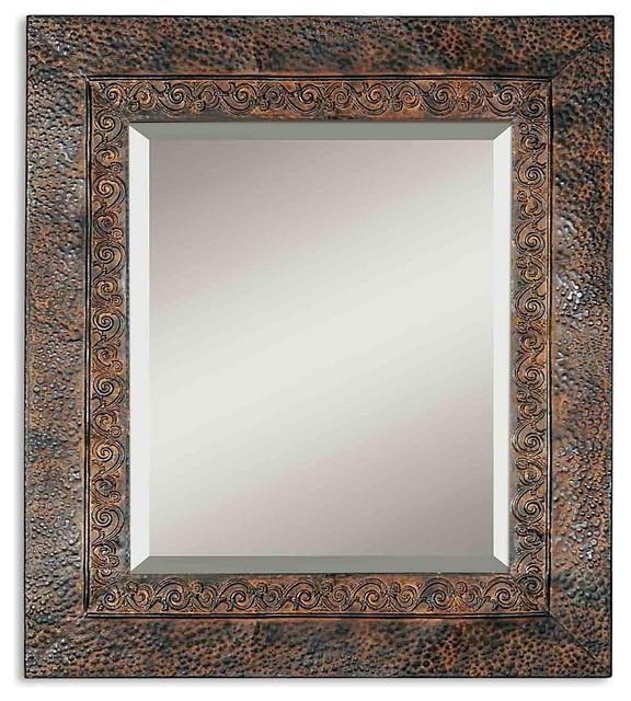 Jackson rustic metal mirror traditional wall mirrors for Traditional mirror