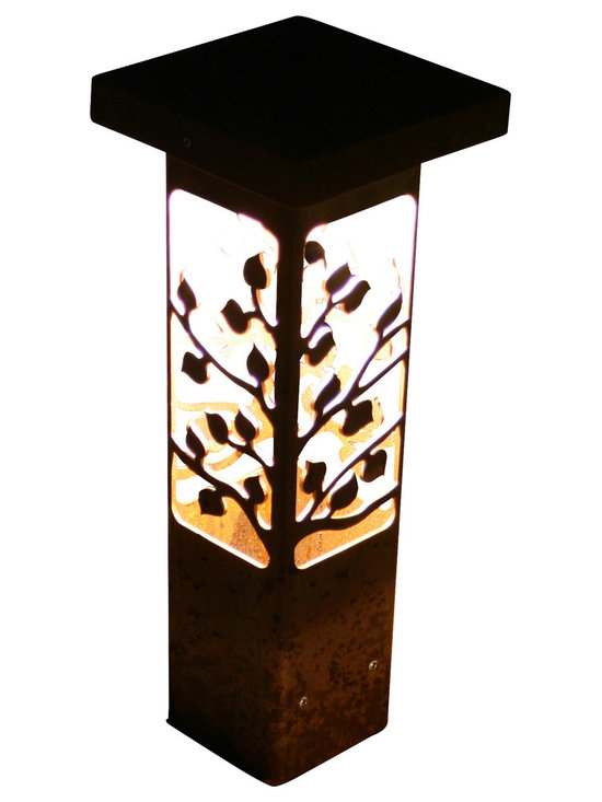 """Attraction Lights - Bollard Light- Aspen- Decorative steel light fixture, 12"""" - The 6 x 6 Bollard light is 42""""  tall and is perfect for illuminating steps and entryways and it also makes a great piece of functional steel art or sculpture for your back yard by the patio or within perennial flower beds.  If your tired of the same old boring path lights and are ready for something unique and different,  these sculptural steel pieces really make a statement.  Anchored on a concrete footing, not even the biggest dog will not knock them over.  Standard 12 volt lighting that can be modified to 120 volt. The lights come standard with a 2700k (warm white color) LED light bulb.  This particular pattern is from our Aspen series and is perfect for cabins and woodsy settings."""