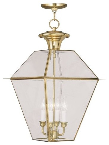 Livex Westover 2387-02 4-Light Outdoor Chain Hang in Polished Brass modern-outdoor-lighting