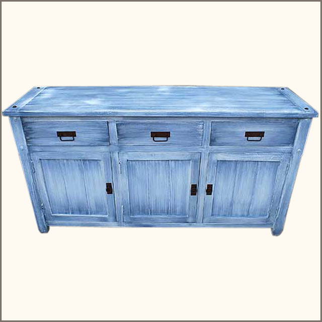Appalachian Distressed Buffet Kitchen Cabinet Wood Sideboard Credenza - Rustic - Buffets And ...
