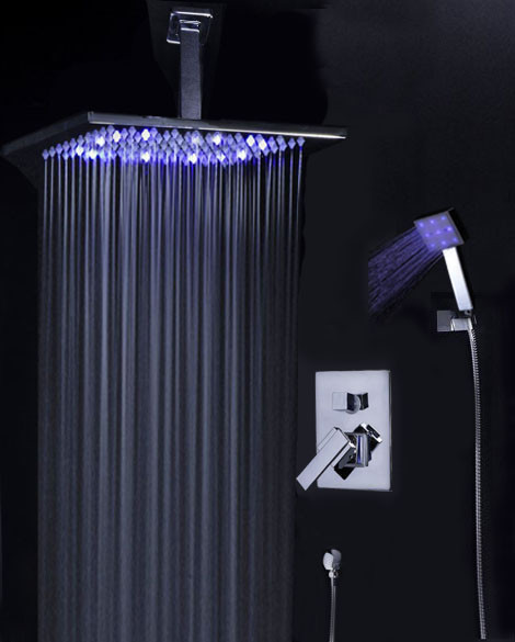 Shower Trim Kit With Ceiling Mounted 12 LED Rain Shower Head Contempo