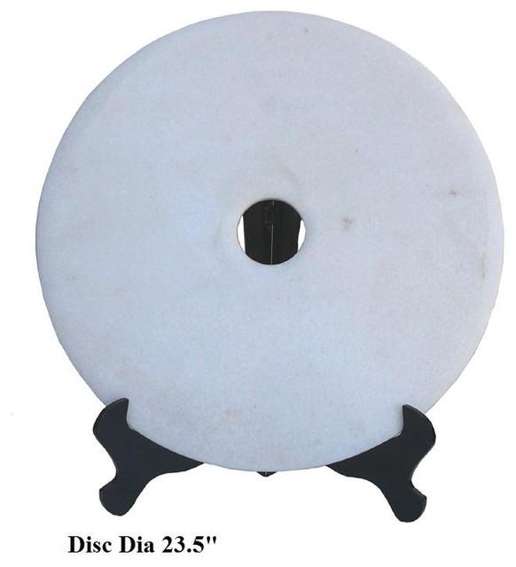 Chinese White Marble Round Feng Shui Display modern-artwork