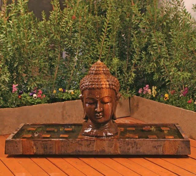 Large buddha head fountain asian garden water features for Buddha decorations for the home uk