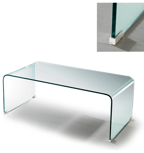 Modern Clear Bent Glass Rectangular Coffee Table Volcano Modern Coffee Tables San