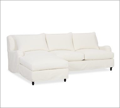 Carlisle Slipcovered Right 2-Piece Sectional with Chaise, Organic Cotton Canvas traditional-sectional-sofas
