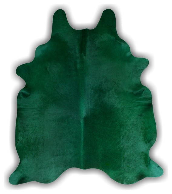Emerald green dyed hair on hide leather rug eclectic