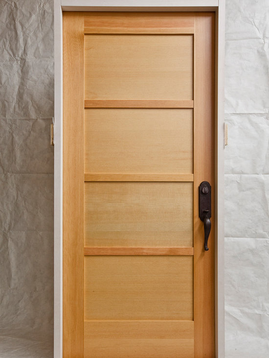 River City Woodworks in Fernie BC - Modern Doors - Verticle Grain Fir with a Paint grade Jamb