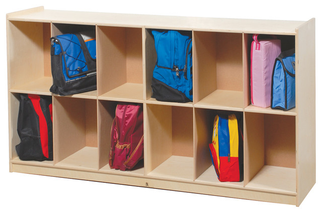Steffywood Pre Kids Wooden Low 12 Backpack Multi Storage Section Cabinet - Contemporary - Filing ...