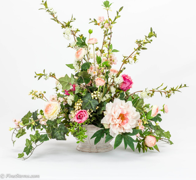 Pink rose silk floral arrangement with blossom branch