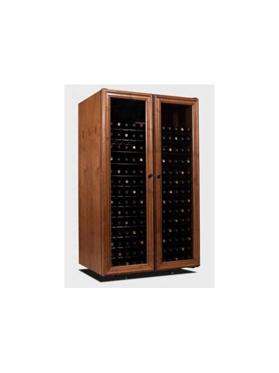 Vinotheque Villa Series Venetian 330 Wine Cabinet - Elegance and affordability come together to create this truly unique full-length window door style. Each cabinet is handcrafted from Alder, and glazed distressing gives every unit its own uniqueness.