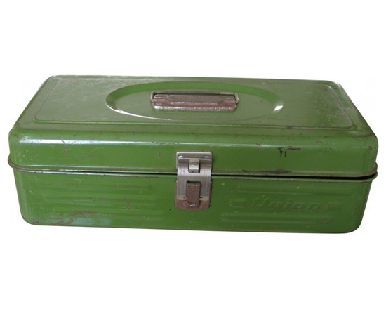 Union Steel Metal Box - Metal box made by Union Steel in olive green. Exterior shows much wear, scratches and rust. Handle, hinges and clasp closure are in good working order.