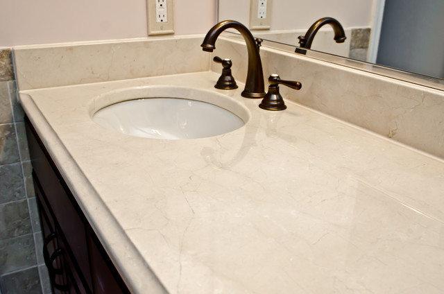 Crema Marfil Marble Modern Vanity Tops And Side