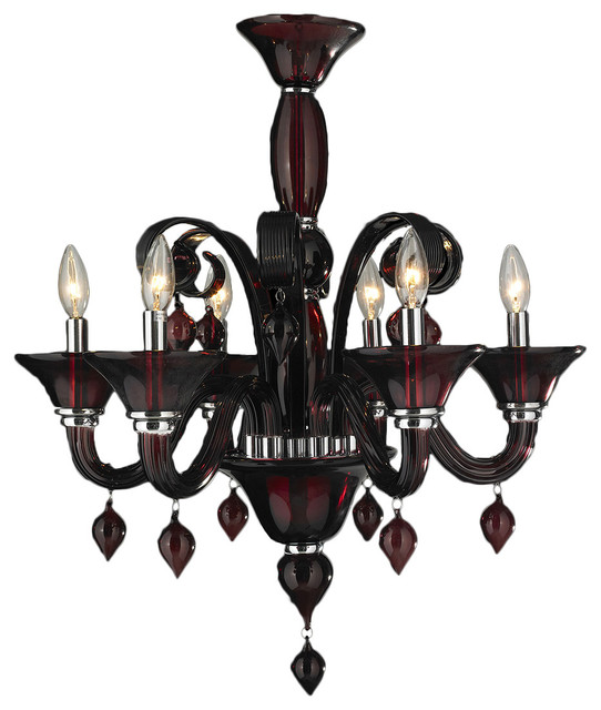 """Murano Venetian Style 6 Light Blown Glass in Cranberry Red Finish Chandelier 23"""" contemporary-chandeliers"""