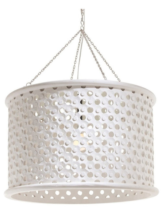 Arteriors Jarrod Large Pendant - Transitional 1-light hand carved wooden drum shade pendant in whitewash finish with tiny perforations for detail and texture. Topped with an interior mirror border allowing light to disperse downward and through the holes across the surface of the shade.