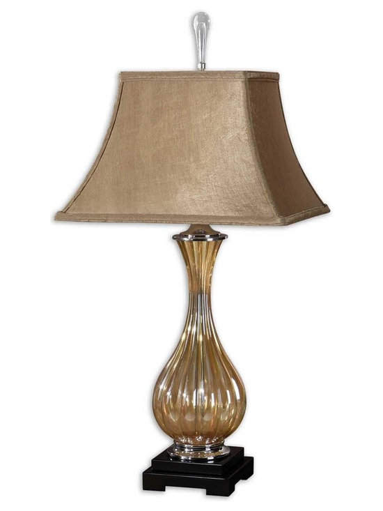 "Uttermost Tisbury Gold Glass Table Lamp - Uttermost Tisbury Gold Glass Table Lamp has fluted golden tinted glass with polished aluminum accents and satin black details. Dimensions: 33.3"" High, 13"" Wide."