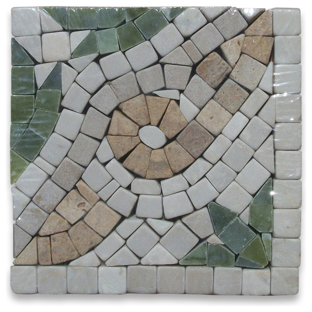 Leaf Verde 4x4 Marble Mosaic Border Corner Tumbled floor-tiles