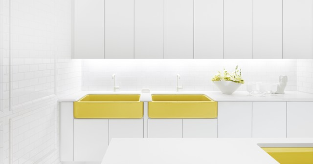 Pops of Piccadilly Yellow eclectic kitchen