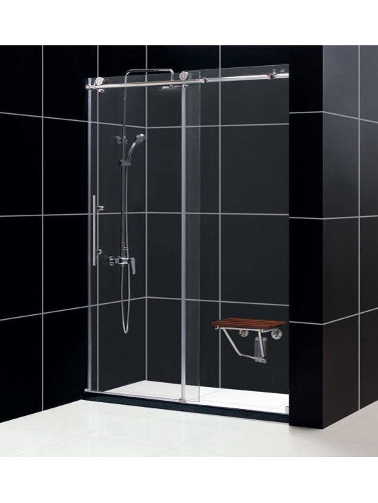 "Dreamline - Enigma-X 56 to 60"" Fully Frameless Sliding Shower Door, Clear 3/8"" Glass Door - The Enigma-X sliding shower door is the epitome of style, innovation and quality. The sleek Fully frameless design and high functioning performance deliver the look and feel of custom glass at an exceptional value. The impressive 3/8 in. thick tempered glass is factory treated with DreamLine exclusive ClearGlass protective coating for superior protection and easy maintenance. The substantial stainless steel hardware is the perfect marriage of urban style and effortless operation. Take your bathroom design to the limit with the high quality and sublime styling of the Enigma-X sliding shower door."