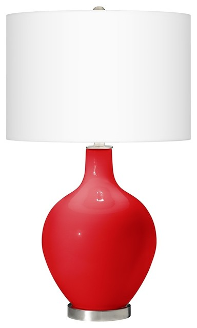 Contemporary bright red ovo table lamp contemporary table lamps