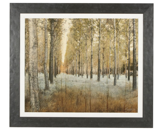 Ethan Allen - Trees - Textured and tonal. For a dreamlike effect, we've applied a thick tea-staining glaze by hand to this large gicl?e landscape. A white linen liner punctuates the subtle light tones of the photography printed on canvas. Our weathered plank-style frame echoes its darker areas. By Pezhman (b. 1976, Iran).