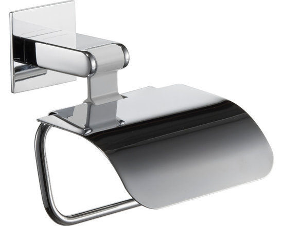 Iris paper holder with lid. No drill.White-Polished chrome. - Iris paper holder with lid. No drill. White-Polished chrome. Designed and manufactured in Spain. For further information please contact us by email to: contact@macraldesign.com or by phone: 305 471 9041
