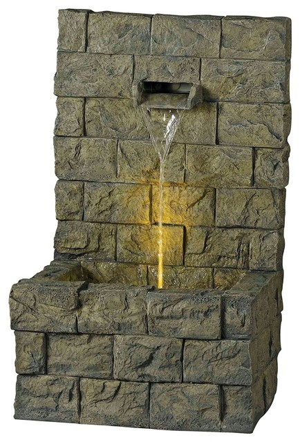 Garden Wall Indoor Outdoor Fountain with LED Light traditional outdoor ...