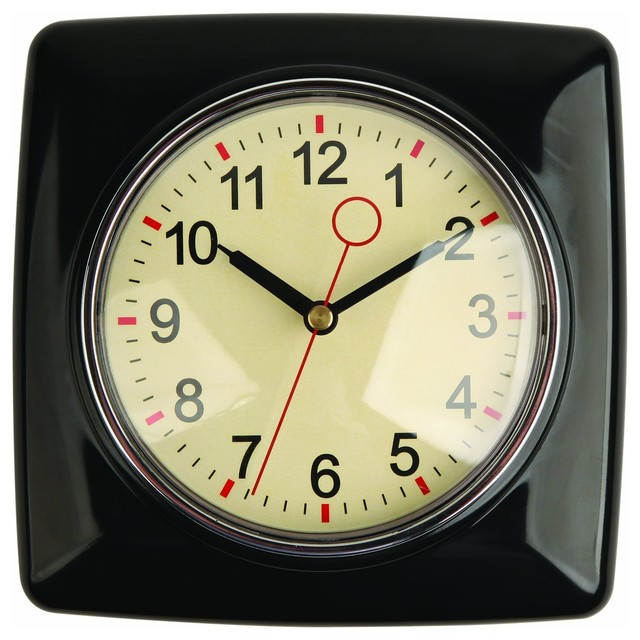 Kikkerland retro kitchen wall clock black modern wall - Modern clocks for kitchen ...