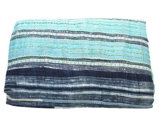 Blue Hues Hmong Blanket - Dimensions 96.0ʺW × 86.0ʺD × 0.5ʺH