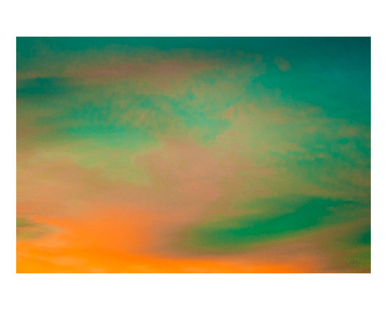 Painted Skies by Ben and Raisa Gertsberg - contemporary art, canvas art, giclee - Nature inspired multicolored fantasy sky abstraction in impressionist style, with cloud patches in bright orange, teal green and pale pink - for modern or contemporary home decor.