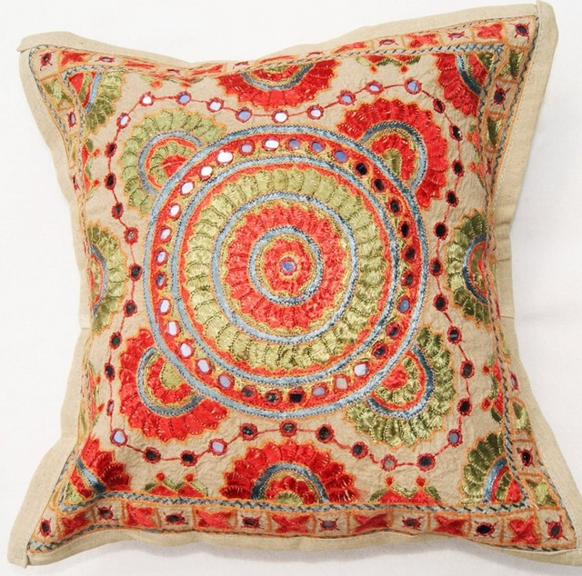 Traditional Indian embroidered cushion cover traditional-decorative-pillows