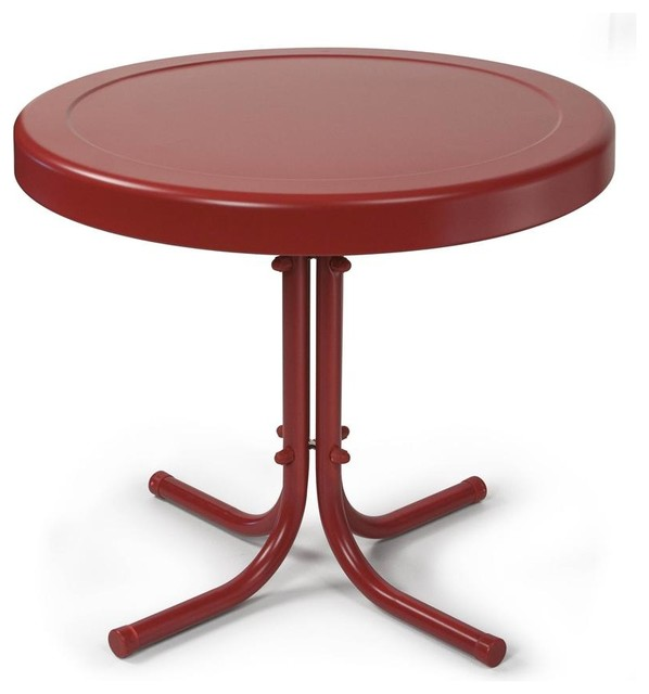 Retro Metal Side Table in Coral Red - Contemporary - Outdoor Side ...