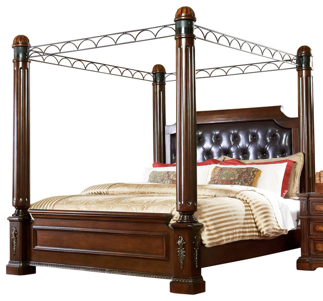 Homelegance Bermingham Poster Canopy Bed in Warm Brown traditional-beds