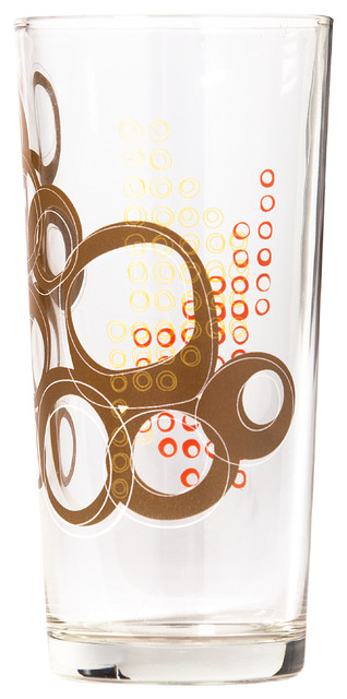 Kay Collection - Glass Tumbler Set of 6, Espresso contemporary-everyday-glasses